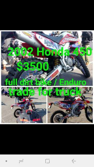 2002 Honda CRF450R full race bike for the dirt but Street legal for Sale in San Bernardino, CA