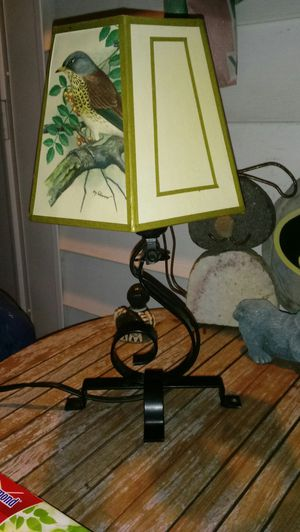 """14"""" small metal table lamp with PH. Gonner print lamp shade for Sale in St. Louis, MO"""