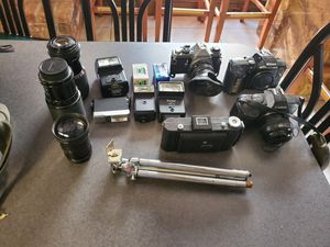 Antique Collectible Cameras Nikon Film Lot/Bundle Tripods Flash Lens Canon for Sale in Houston, TX