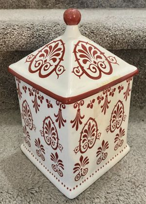 Vintage Red And White Mesa Products Porcelain Cookie Jar Canister for Sale in Chapel Hill, NC