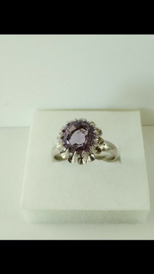*ANTIQUE UNIQUE* Solid 18k White Gold NATURAL AMETHYST ring size 7.5 $480 OR BEST OFFER ** FOR CHRISTMAS WE SHIP!!📦📫** for Sale in Phoenix, AZ