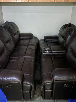 Mahogany Leather Couches Power Recliner for Sale in Brooklyn,  NY