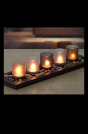 5 VOTIVE GLASS COLORFUL CANDLE SET TEALIGHT JEWEL TONE WITH TRAY ROCK STONES USED for Sale in Norfolk, VA
