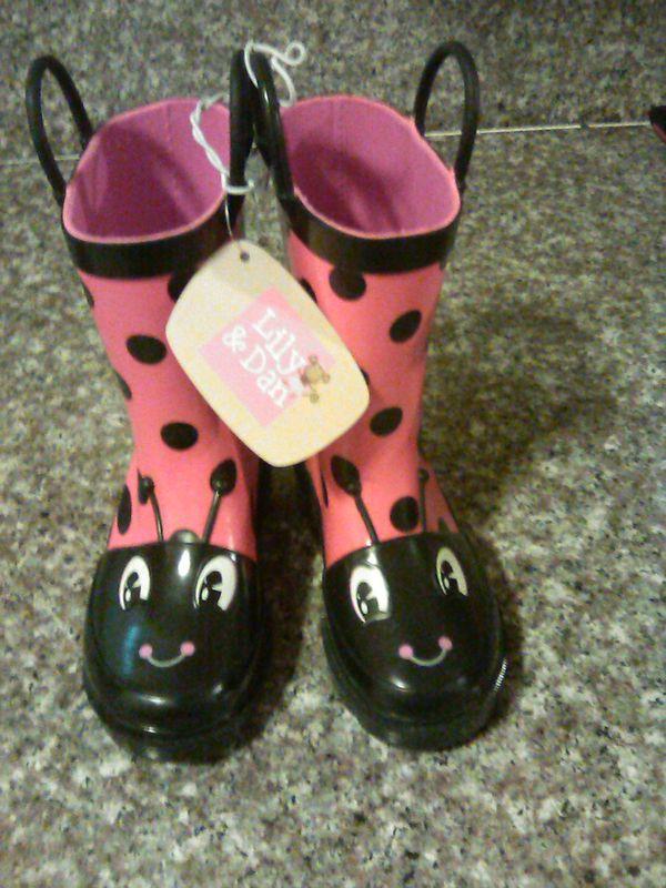 Little girl Lady Bug Rain Boots