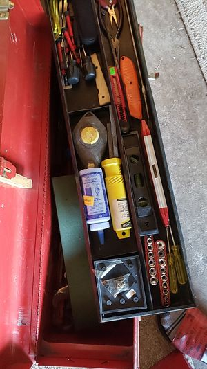 2 red tool boxes with lots of stuff inside big one 100 small one 50 for Sale in Springfield, OR