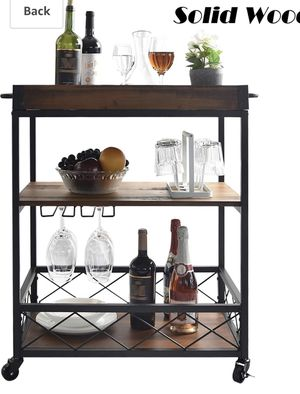 CharaVector Kitchen Cart and Dining Car with Wine Rack, Brown Movable Dining Cart Table with 3-Tier Storage Shelf with Wine Glass Holder, 33X26X18.1 for Sale in Los Angeles, CA