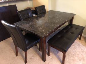 Dining room table with 4 chairs & bench for Sale in Alexandria, VA