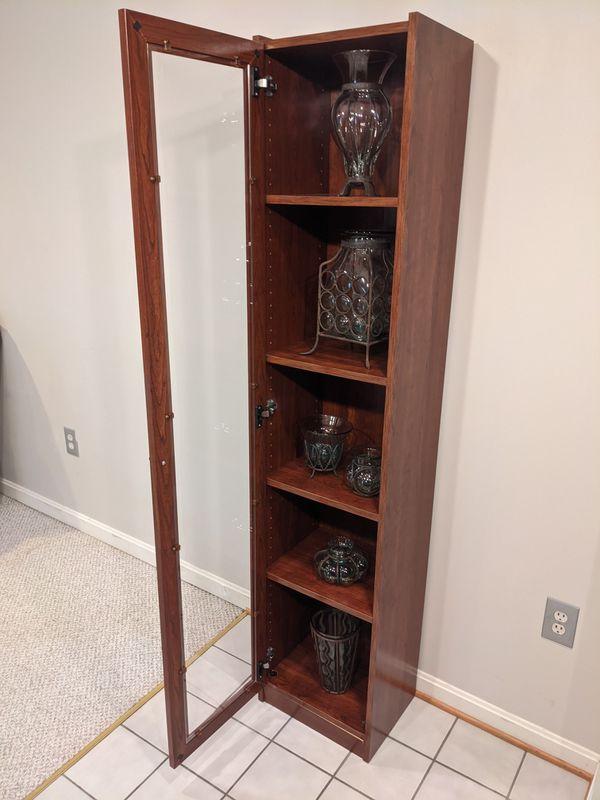 Elegant 5 Shelf Bookcase Wooden Display Case with Glass Door