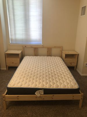 1 bed single and a half with mattress and 2 small bedside table, chest of drawers for Sale in Alexandria, VA