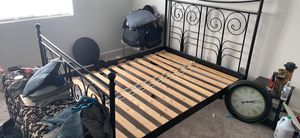 PENDING - Queen size rod iron bed frame w/headboard and footboard. Planks included! for Sale in Tempe, AZ