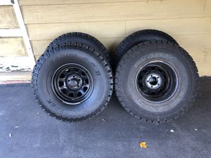 5 Dick Cepak 33x 12.5x 15 tires mounted on black steel rims. Jeep 5x4.5 bolt pattern. Local pick up only for Sale in Holland, PA