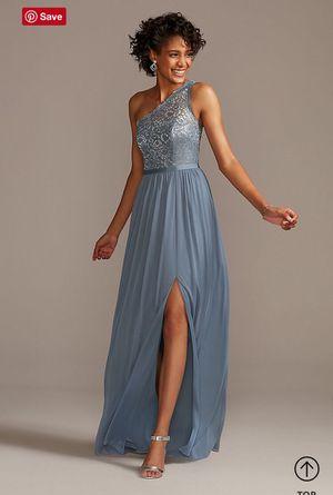 David's Bridal Steel Blue One-Shoulder Bridesmaid Dress, Size 12 for Sale in Obetz, OH