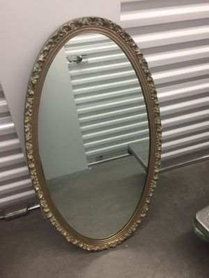 Vintage Large Oval Wall Mirror Gold/ Green Ornate Scroll for Sale in Seattle, WA