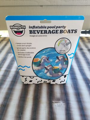 Inflatable Pool Party Beverage Boats - 3 pack unicorn for Sale in Pahrump, NV