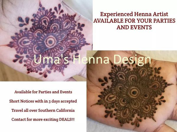 Henna Professional Available for Parties and your programs
