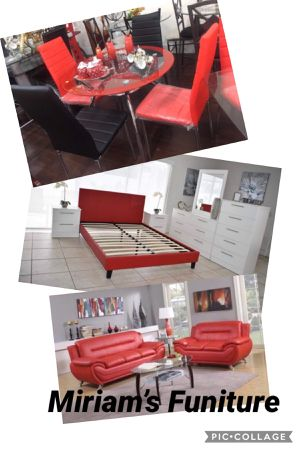 Brand new 13 pcs of furniture living room dining room bedroom set no mattress all for $1400 for Sale in Miami, FL