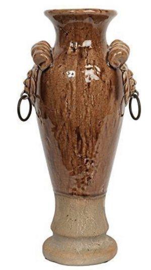 Vase,high,ceramic Italian lion face handle for Sale in San Diego, CA