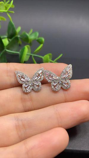 925 Sterling Silver Cubic Zircon Butterfly Stud Earring for Sale in Irvine, CA
