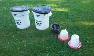 Feed containers & chicken watering pail for Sale in East Sparta, OH