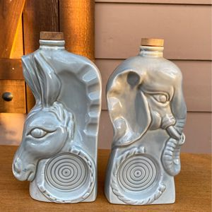 Vintage donkey and elephant empty decanters Political advertising. Could be used as vases or bookends for Sale in Fort Worth, TX