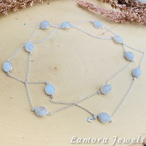 Moonstone Gemstone Sterling Silver Long Necklace for Sale in King of Prussia, PA