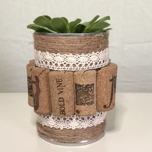 Handmade wine cork and twine planter with succulent for Sale in Westland, MI
