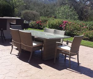Patio furniture 6 person dining wicker grey set. Large size chairs. Heavy duty cushions. brand new. for Sale in Spring Valley, CA