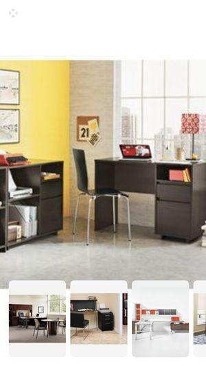 Room essentials espresso desks and 1 printing/filing cabinet for Sale in Miami, FL