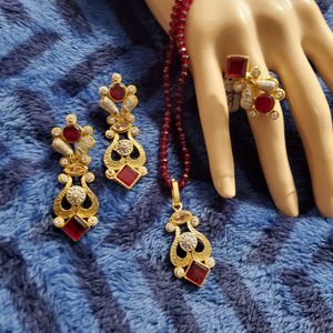 Ruby Gold Plated Necklace Set for Sale in Woodlawn, MD