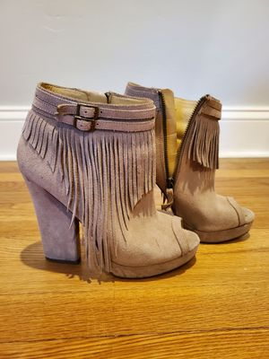 Nine West Tan Suede Open toe Fringe Bootie 7M for Sale in Stamford, CT