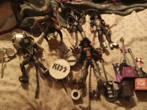 Kiss figurines with drumset and guitars collection for Sale in San Antonio, TX