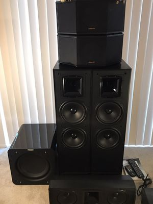 5.1 Klipsch surround sound system with Velodyne sub woofer, Yamaha av receiver. Ksf-c5 is the center, ksf-10.5, towers, ksf-s5 corner speakers for Sale in Glendale Heights, IL