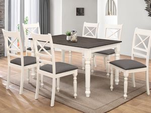 7pcs dining table grey fabric upholstery for Sale in Long Beach, CA