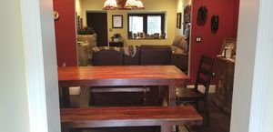 Solid wood dining table with 2 benches and 2 end chairs . for Sale in Miami, FL