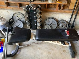 Hampton weights weight bench dumbbell York barbell for Sale in Kirkland, WA