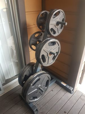 Olympic weights set and weight rack home gym for Sale in San Diego, CA