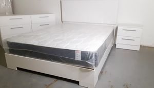 NEW PRETTY WHITE BED FRAME WITH MATTRESS , DRESSER AND 1 NIGHTSTAND for Sale in Palm Beach Shores, FL