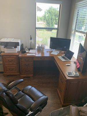 Whalen L-Shaped Desk, File, Cabinet & book shelf for Sale in Fort Worth, TX