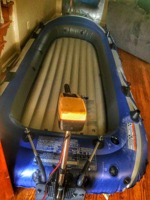 Intex 5 boat with troll motor ,battery for Sale in Wilmington, DE