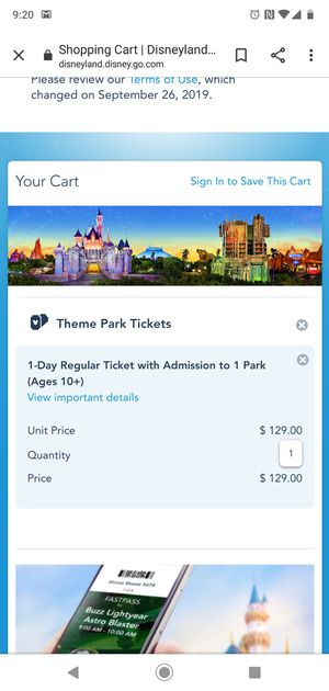 One general admission ticket to Disneyland Park, expires 12/31/2019 price $100 for Sale in Fresno, CA
