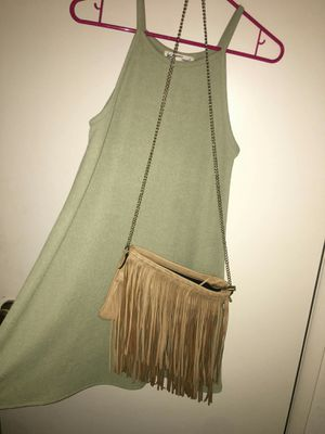 Olive green dress and tan brown fringe purse for Sale in Modesto, CA