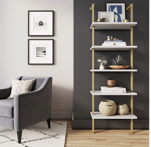 5-Shelf Ladder Bookcase with Brass Metal Frame, 5-Tier, White for Sale in Ontario, CA