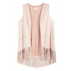 Jessica Simpson Girls' Tasmania Faux Suede Fringe Vest BOHO Blush Tan Medium M for Sale in Avondale, AZ