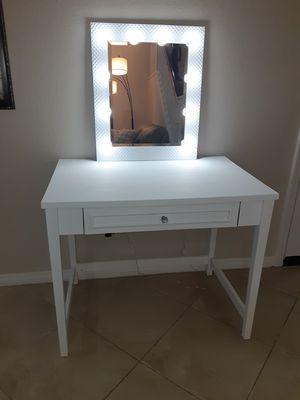 Wooden vanity desk and mirror for Sale in San Bernardino, CA