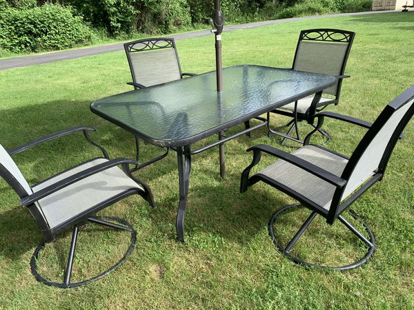 Patio Furniture Dining Set With Umbrella For Sale In Maple