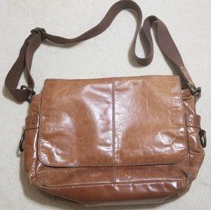 """Fossil leather messenger bag, cognac, 16"""" laptop bag for Sale in Millersville, MD"""