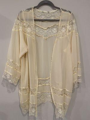 Beige cream lace chiffon flowy kimono lingerie like top for Sale in Aspen Hill, MD