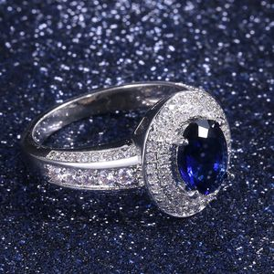Oval Blue Sapphire Lab Created Diamond 18K White Gold Engagement Ring Size 8 for Sale in Phoenix, AZ