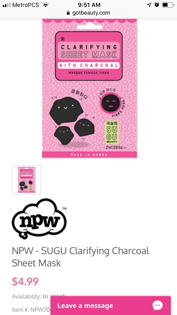 Face Mask - sheet mask with charcoal
