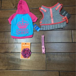 NWT - Size S - Dog 🐶 Apparel SET - Pink Drama Queen Tee, Grey And Peach Harness , Collar Flower And Pink Reflective Collar for Sale in Tustin, CA